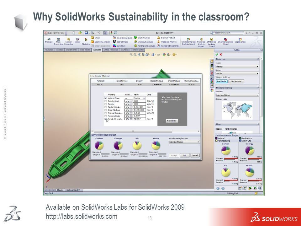 13 Ι © Dassault Systèmes Ι Confidential Information Ι Why SolidWorks Sustainability in the classroom.