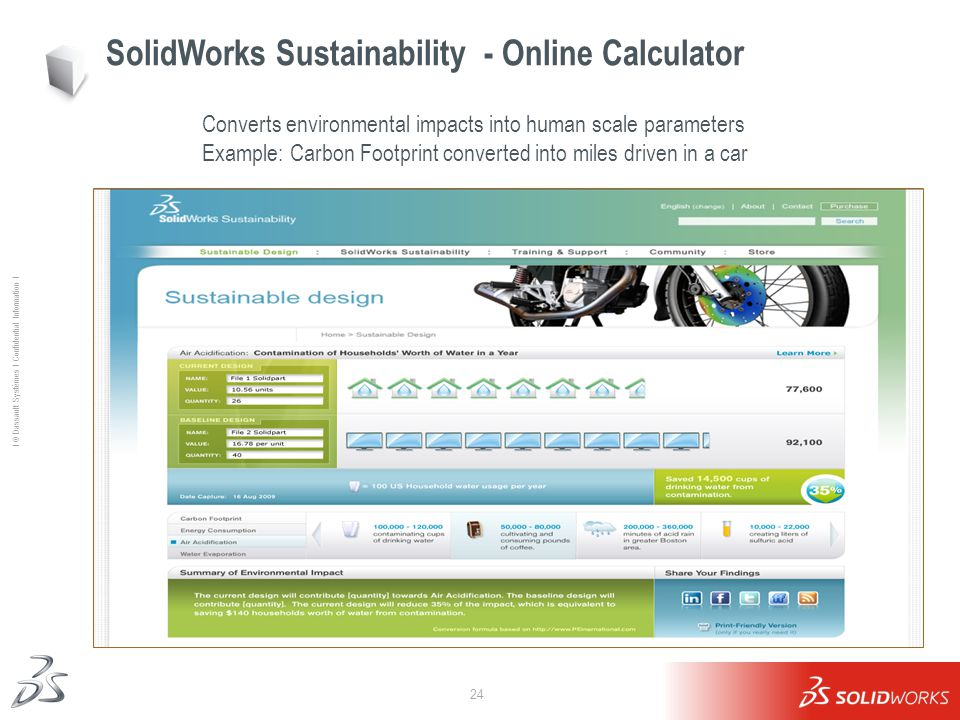 24 Ι © Dassault Systèmes Ι Confidential Information Ι SolidWorks Sustainability - Online Calculator Converts environmental impacts into human scale parameters Example: Carbon Footprint converted into miles driven in a car