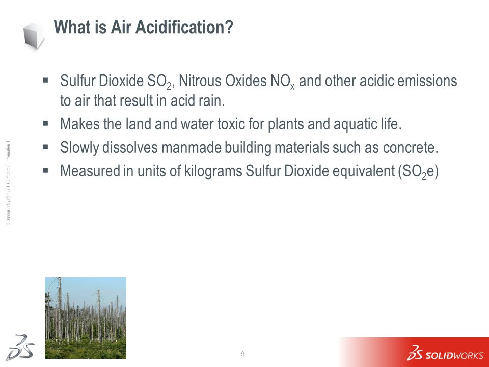9 Ι © Dassault Systèmes Ι Confidential Information Ι What is Air Acidification?  Sulfur Dioxide SO 2, Nitrous Oxides NO x and other acidic emissions