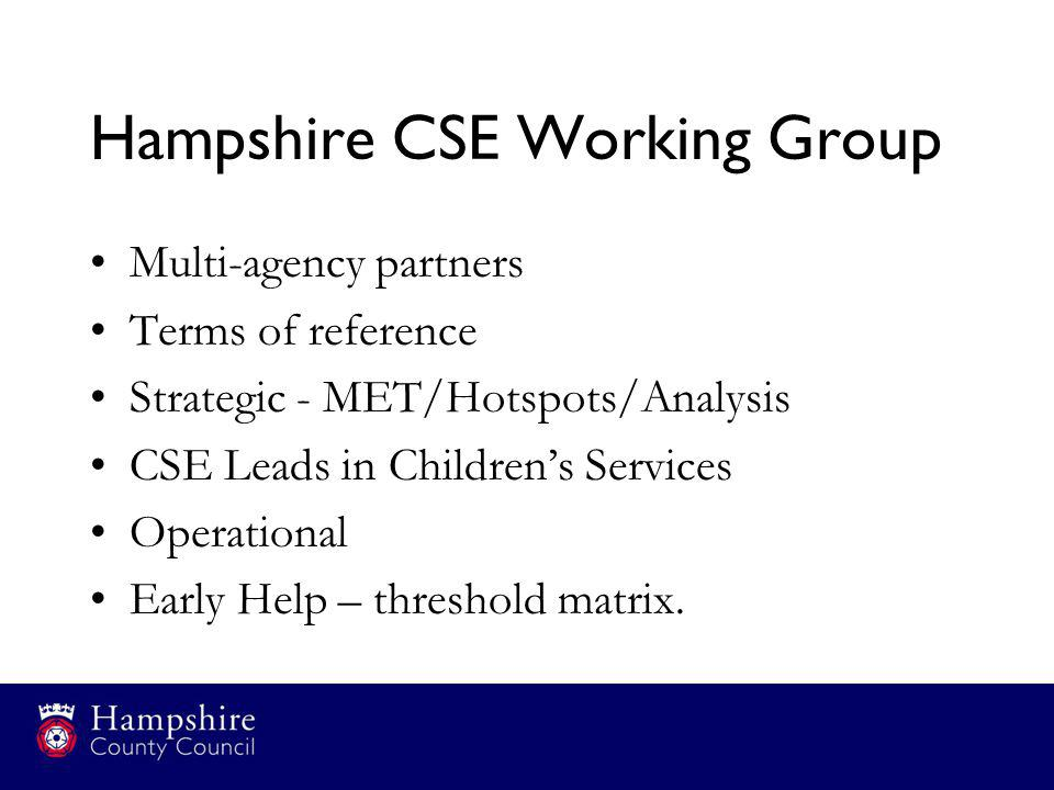 Hampshire CSE Working Group Multi-agency partners Terms of reference Strategic - MET/Hotspots/Analysis CSE Leads in Children's Services Operational Ea