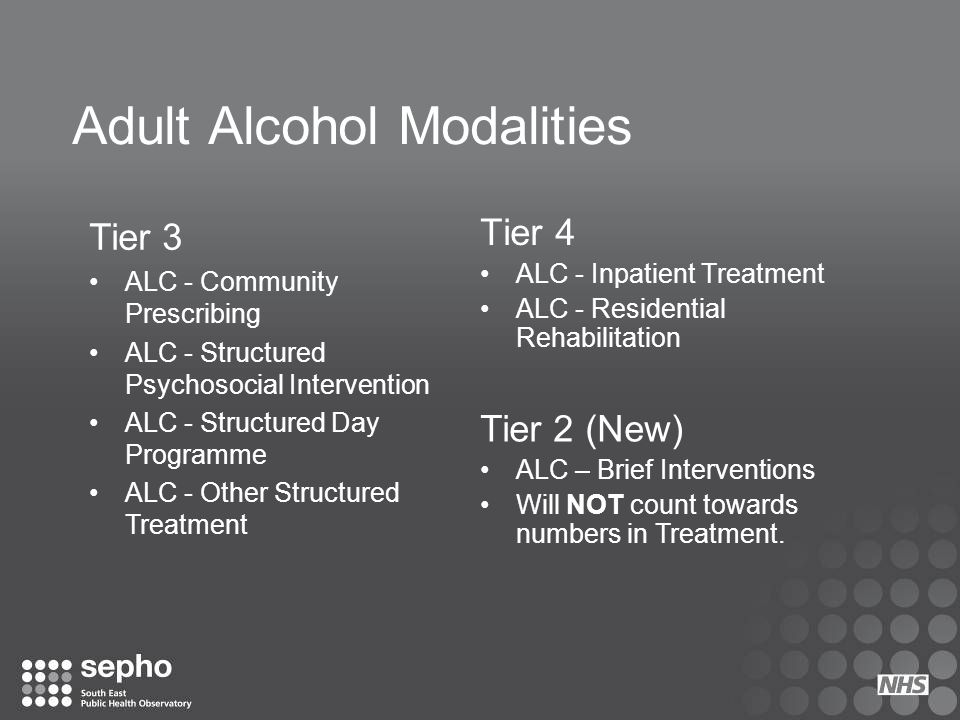 Adult Alcohol Modalities Tier 4 ALC - Inpatient Treatment ALC - Residential Rehabilitation Tier 3 ALC - Community Prescribing ALC - Structured Psychos