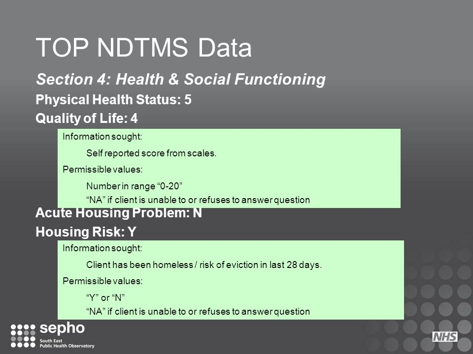 TOP NDTMS Data Section 4: Health & Social Functioning Physical Health Status: 5 Quality of Life: 4 Acute Housing Problem: N Housing Risk: Y Informatio