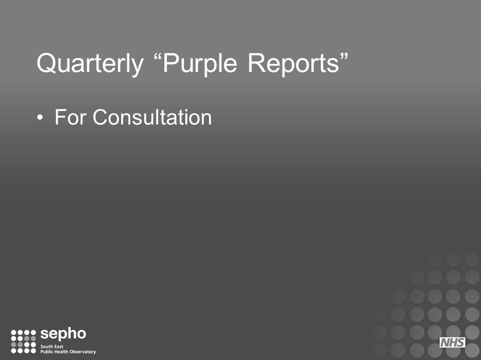 "Quarterly ""Purple Reports"" For Consultation"