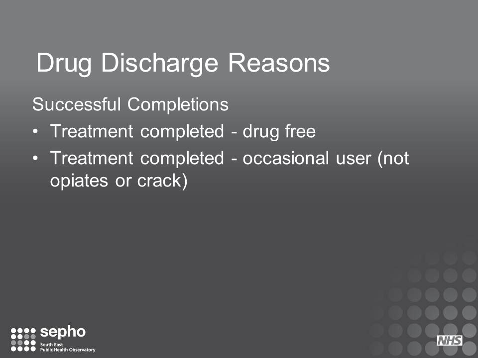 Drug Discharge Reasons Transfers Transferred – not in custody Transferred – in custody
