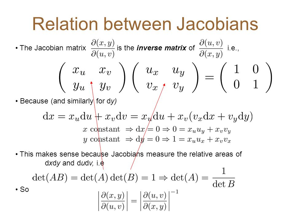 The Jacobian matrix is the inverse matrix of i.e., Because (and similarly for dy) This makes sense because Jacobians measure the relative areas of dxd