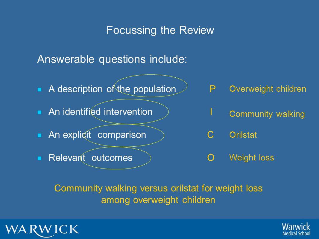 Focussing the Review Answerable questions include: A description of the population P An identified intervention I An explicit comparison C Relevant outcomes O Overweight children Community walking Orilstat Weight loss Community walking versus orilstat for weight loss among overweight children
