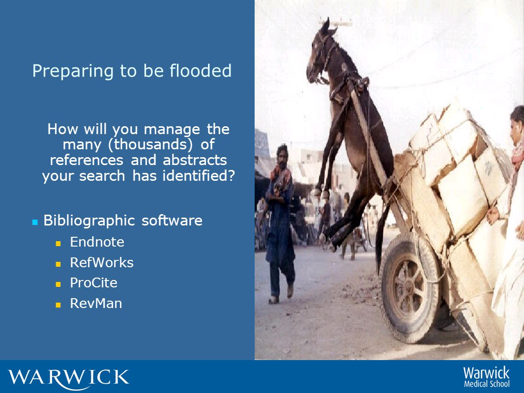 Preparing to be flooded How will you manage the many (thousands) of references and abstracts your search has identified.