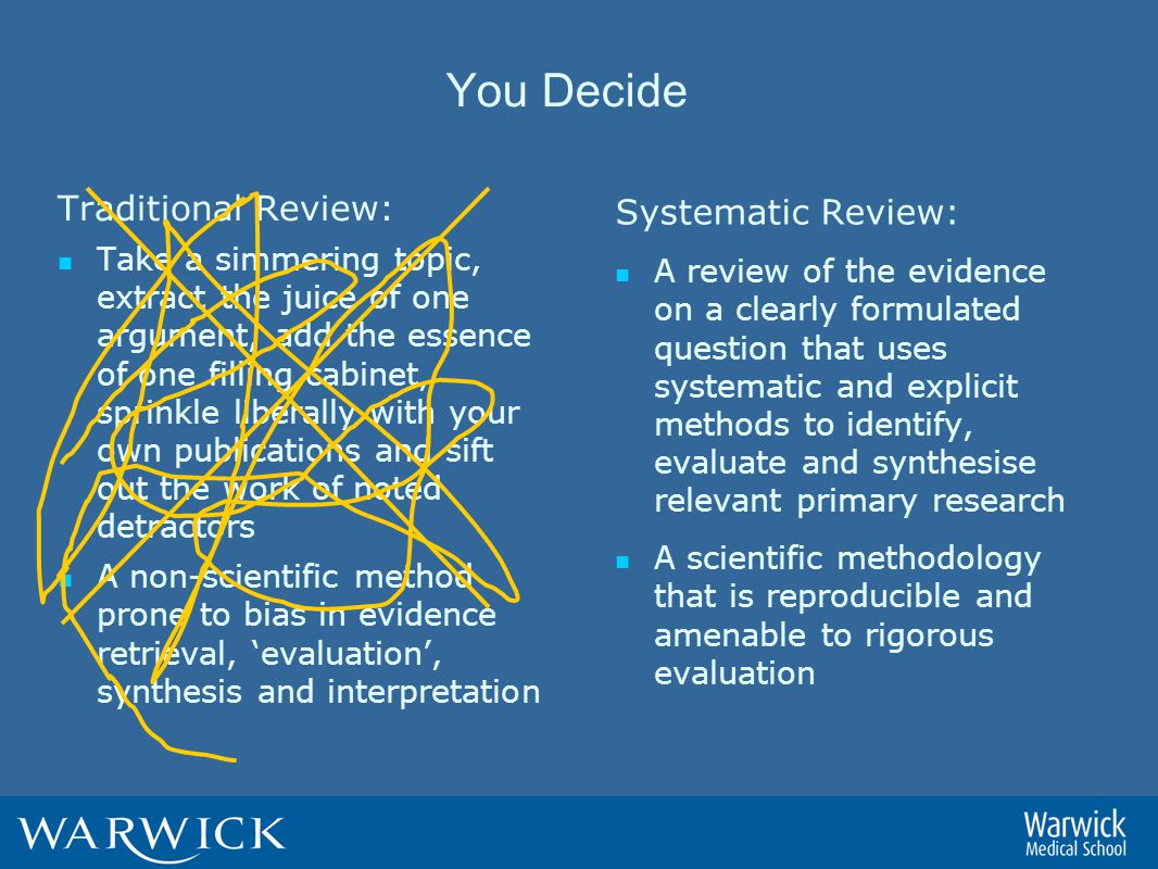 You Decide Traditional Review: Take a simmering topic, extract the juice of one argument, add the essence of one filling cabinet, sprinkle liberally with your own publications and sift out the work of noted detractors A non-scientific method prone to bias in evidence retrieval, 'evaluation', synthesis and interpretation Systematic Review: A review of the evidence on a clearly formulated question that uses systematic and explicit methods to identify, evaluate and synthesise relevant primary research A scientific methodology that is reproducible and amenable to rigorous evaluation