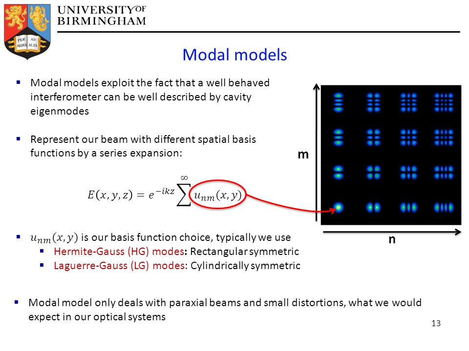 Modal models n m  Modal model only deals with paraxial beams and small distortions, what we would expect in our optical systems 13