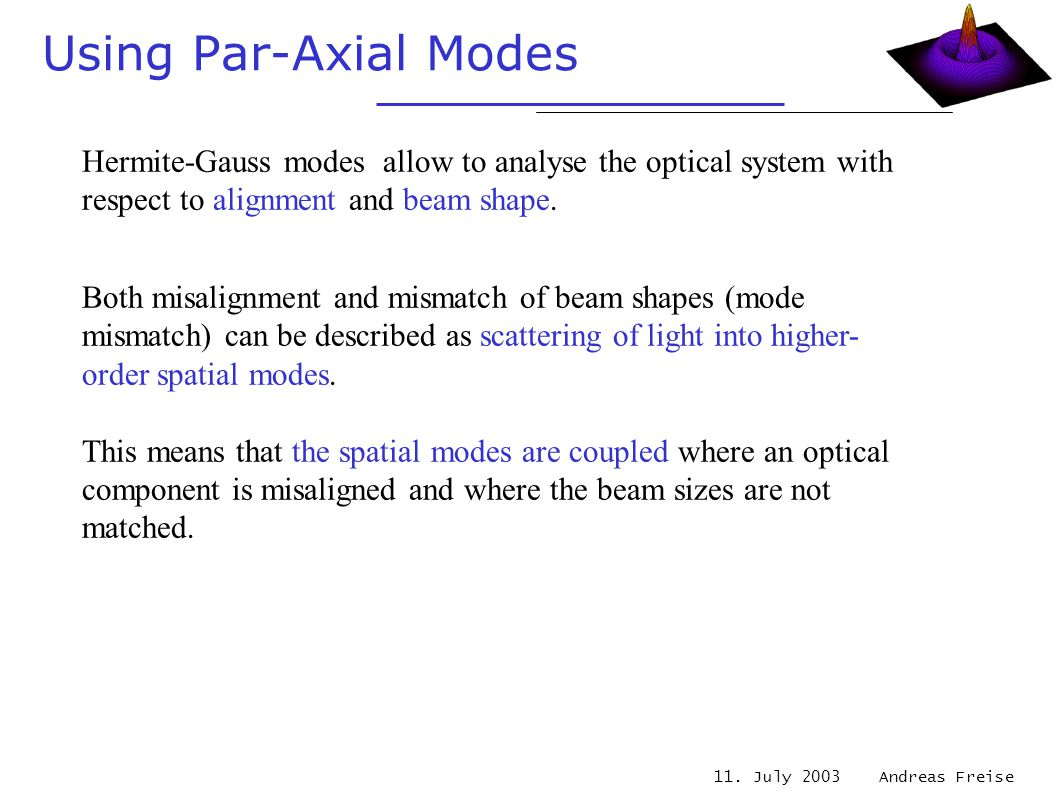 11. July 2003 Andreas Freise Using Par-Axial Modes Hermite-Gauss modes allow to analyse the optical system with respect to alignment and beam shape. B