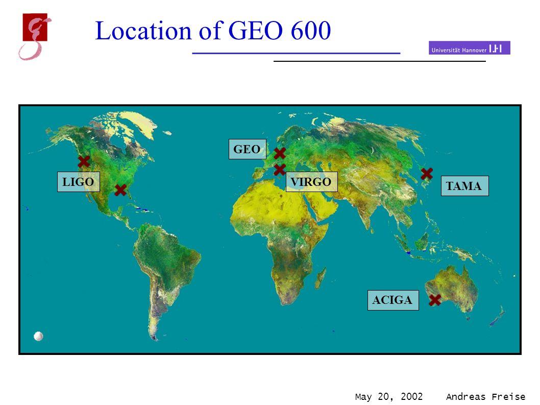 May 20, 2002 Andreas Freise Location of GEO 600 LIGO ACIGA TAMA VIRGO GEO