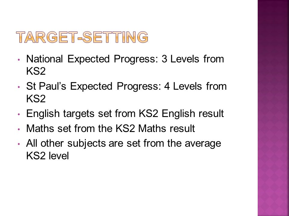 National Expected Progress: 3 Levels from KS2 St Paul's Expected Progress: 4 Levels from KS2 English targets set from KS2 English result Maths set from the KS2 Maths result All other subjects are set from the average KS2 level