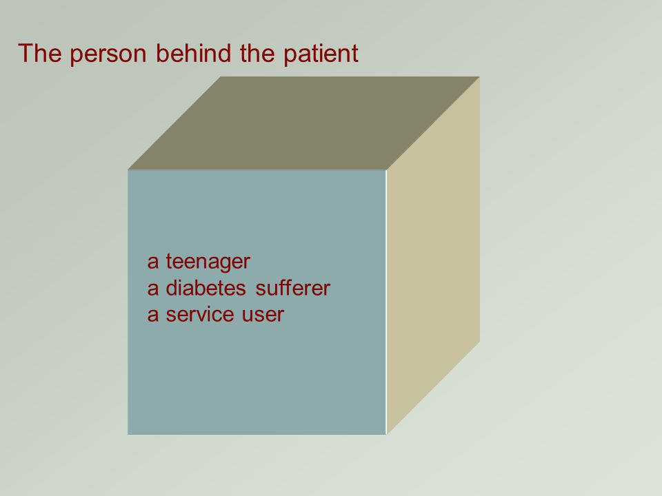 The person behind the patient a teenager a diabetes sufferer a service user