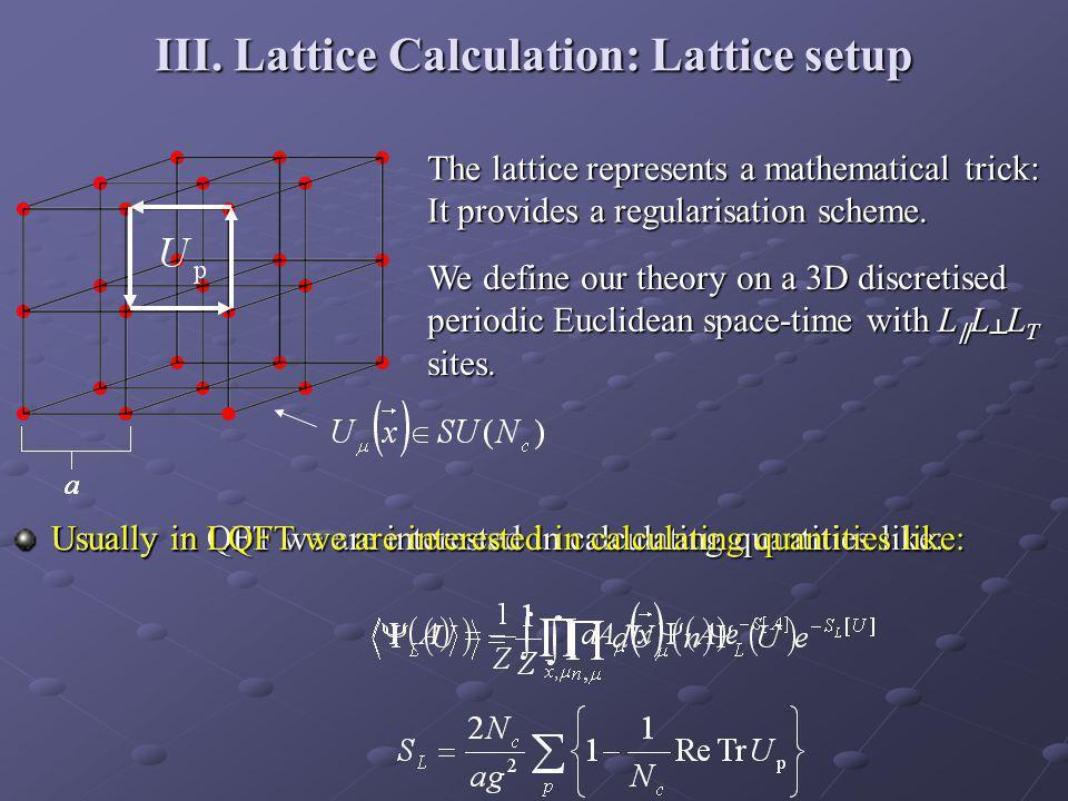 III. Lattice Calculation: Lattice setup The lattice represents a mathematical trick: It provides a regularisation scheme. We define our theory on a 3D