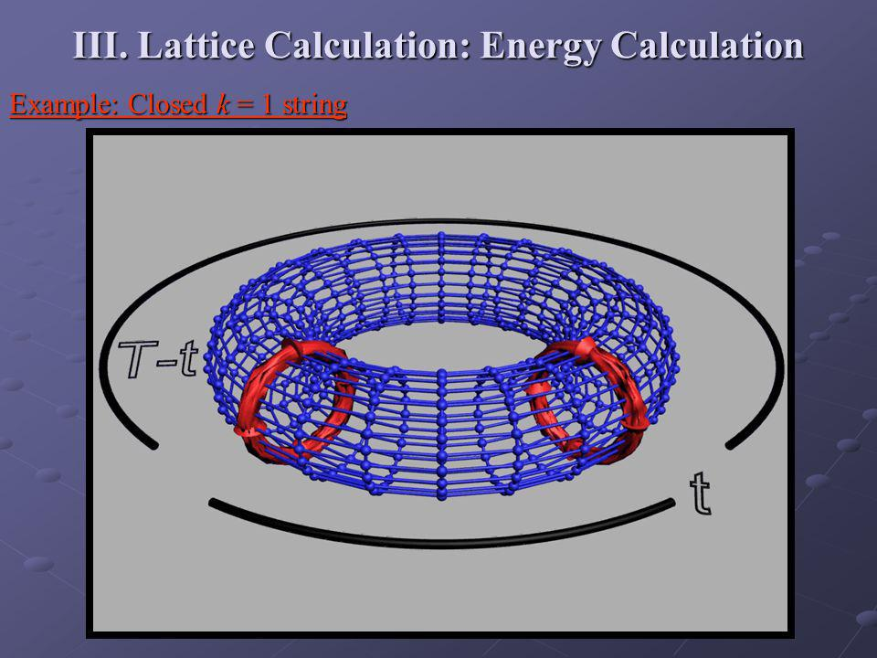 III. Lattice Calculation: Energy Calculation Example: Closed k = 1 string