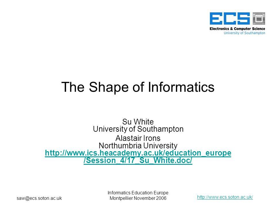 http://www.ecs.soton.ac.uk/ saw@ecs.soton.ac.uk Informatics Education Europe Montpellier November 2006 The Shape of Informatics Su White University of Southampton Alastair Irons Northumbria University http://www.ics.heacademy.ac.uk/education_europe /Session_4/17_Su_White.doc/ http://www.ics.heacademy.ac.uk/education_europe /Session_4/17_Su_White.doc/