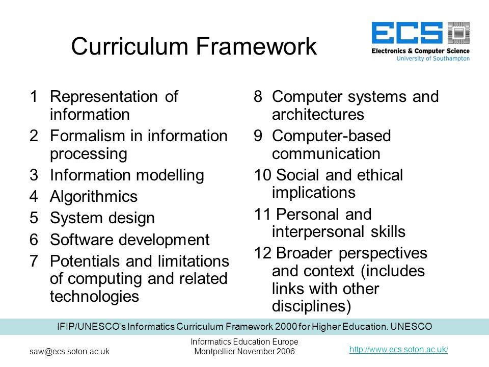 http://www.ecs.soton.ac.uk/ saw@ecs.soton.ac.uk Informatics Education Europe Montpellier November 2006 Curriculum Framework 1 Representation of information 2 Formalism in information processing 3 Information modelling 4 Algorithmics 5 System design 6Software development 7Potentials and limitations of computing and related technologies 8 Computer systems and architectures 9 Computer-based communication 10 Social and ethical implications 11 Personal and interpersonal skills 12 Broader perspectives and context (includes links with other disciplines) IFIP/UNESCO s Informatics Curriculum Framework 2000 for Higher Education.