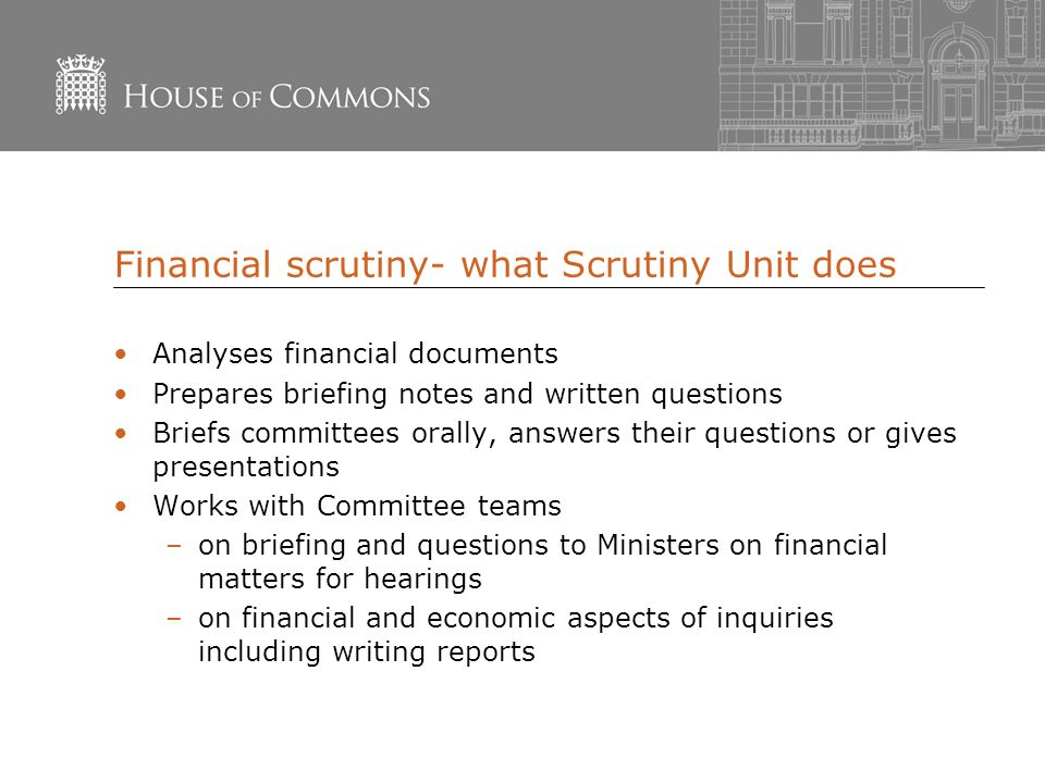 Financial scrutiny- what Scrutiny Unit does Analyses financial documents Prepares briefing notes and written questions Briefs committees orally, answers their questions or gives presentations Works with Committee teams –on briefing and questions to Ministers on financial matters for hearings –on financial and economic aspects of inquiries including writing reports