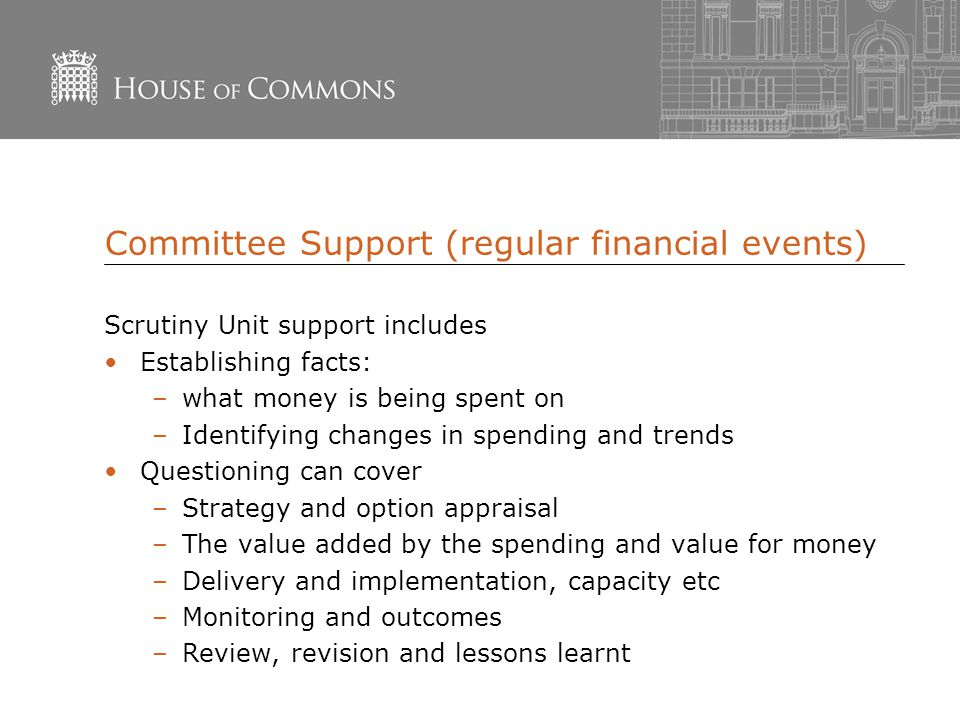Committee Support (regular financial events) Scrutiny Unit support includes Establishing facts: –what money is being spent on –Identifying changes in spending and trends Questioning can cover –Strategy and option appraisal –The value added by the spending and value for money –Delivery and implementation, capacity etc –Monitoring and outcomes –Review, revision and lessons learnt
