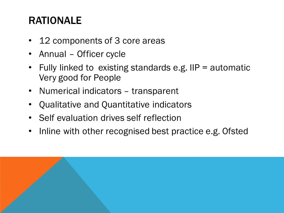 RATIONALE 12 components of 3 core areas Annual – Officer cycle Fully linked to existing standards e.g. IIP = automatic Very good for People Numerical