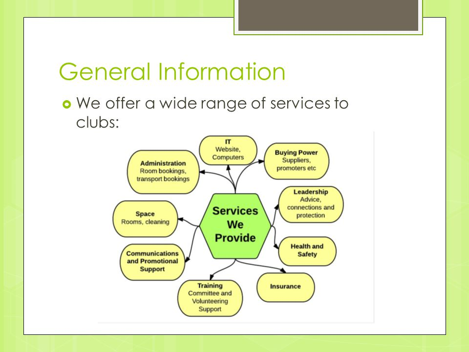 General Information  We offer a wide range of services to clubs: