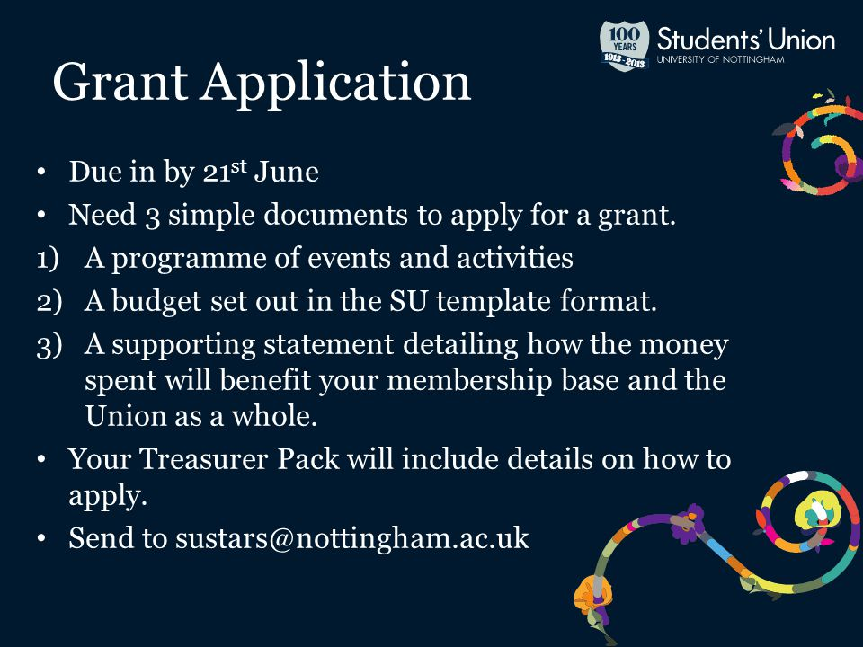 Due in by 21 st June Need 3 simple documents to apply for a grant.