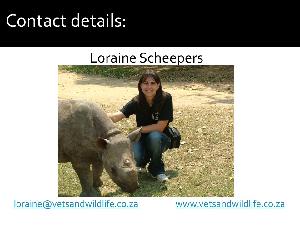Contact details:   Loraine Scheepers