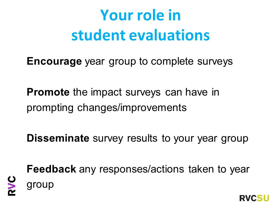 Your role in student evaluations Encourage year group to complete surveys Promote the impact surveys can have in prompting changes/improvements Disseminate survey results to your year group Feedback any responses/actions taken to year group