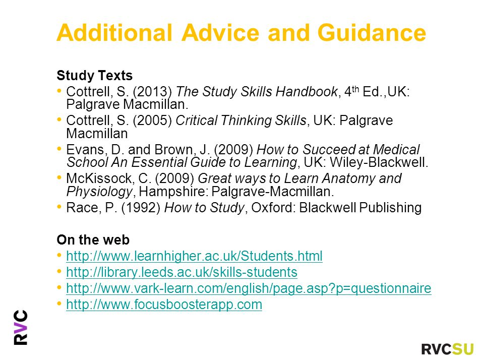 Additional Advice and Guidance Study Texts Cottrell, S.