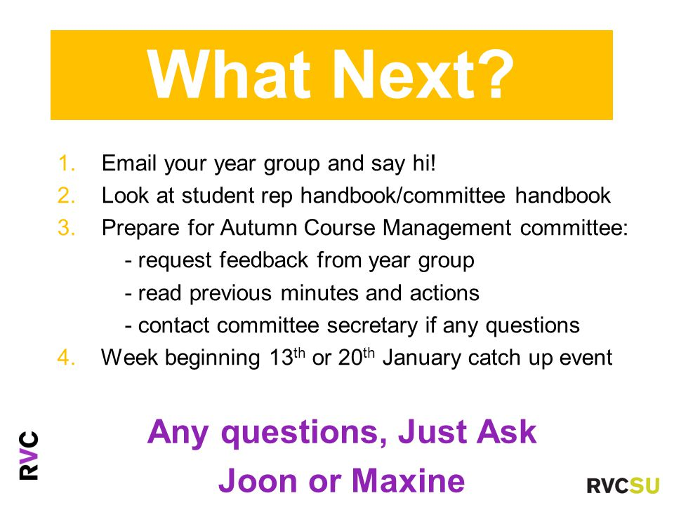 1. Email your year group and say hi. 2. Look at student rep handbook/committee handbook 3.