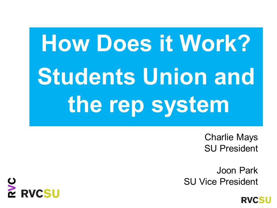 How Does it Work? Students Union and the rep system Charlie Mays SU President Joon Park SU Vice President