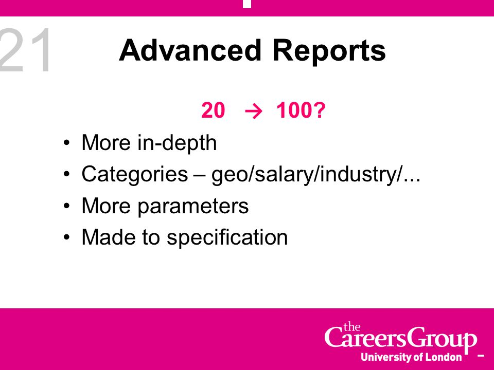 21 Advanced Reports 20 → 100. More in-depth Categories – geo/salary/industry/...