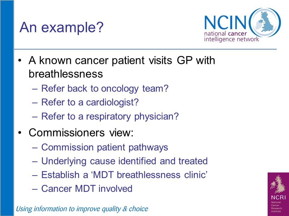 An example? A known cancer patient visits GP with breathlessness –Refer back to oncology team? –Refer to a cardiologist? –Refer to a respiratory physi