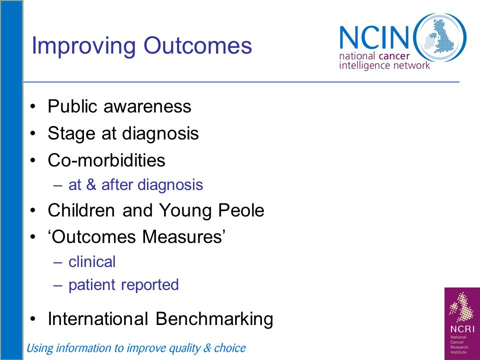 Improving Outcomes Public awareness Stage at diagnosis Co-morbidities –at & after diagnosis Children and Young Peole 'Outcomes Measures' –clinical –pa