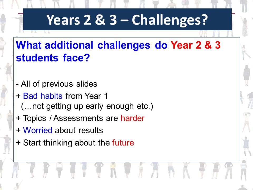 Years 2 & 3 – Challenges? What additional challenges do Year 2 & 3 students face? -All of previous slides + Bad habits from Year 1 (…not getting up ea