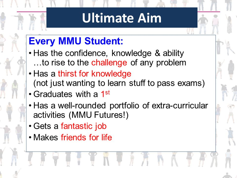 Ultimate Aim Every MMU Student: Has the confidence, knowledge & ability …to rise to the challenge of any problem Has a thirst for knowledge (not just