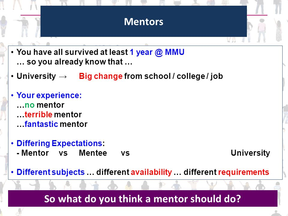 Mentors You have all survived at least 1 year @ MMU … so you already know that … University →Big change from school / college / job Your experience: …no mentor …terrible mentor …fantastic mentor Differing Expectations: - MentorvsMenteevsUniversity Different subjects … different availability … different requirements So what do you think a mentor should do?