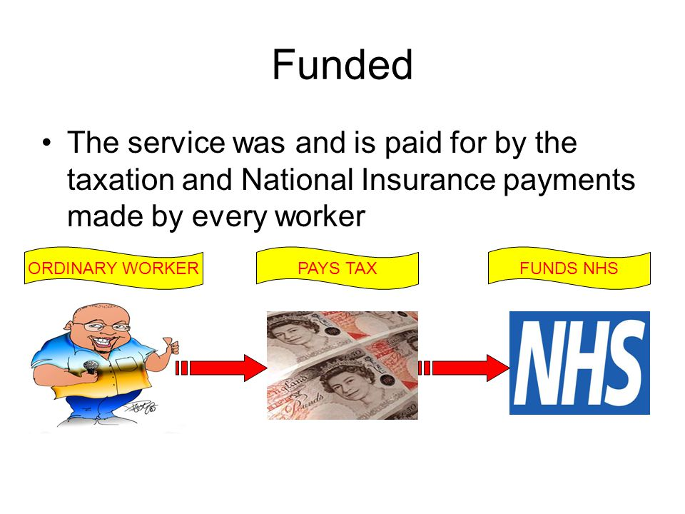 Funded The service was and is paid for by the taxation and National Insurance payments made by every worker ORDINARY WORKERPAYS TAXFUNDS NHS