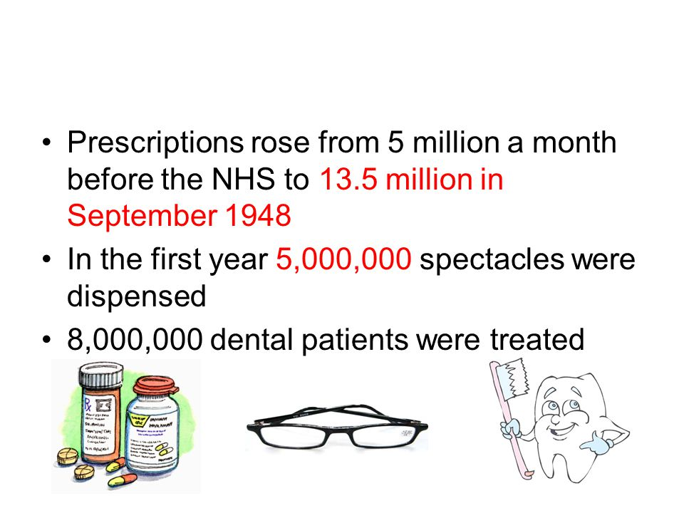 Prescriptions rose from 5 million a month before the NHS to 13.5 million in September 1948 In the first year 5,000,000 spectacles were dispensed 8,000