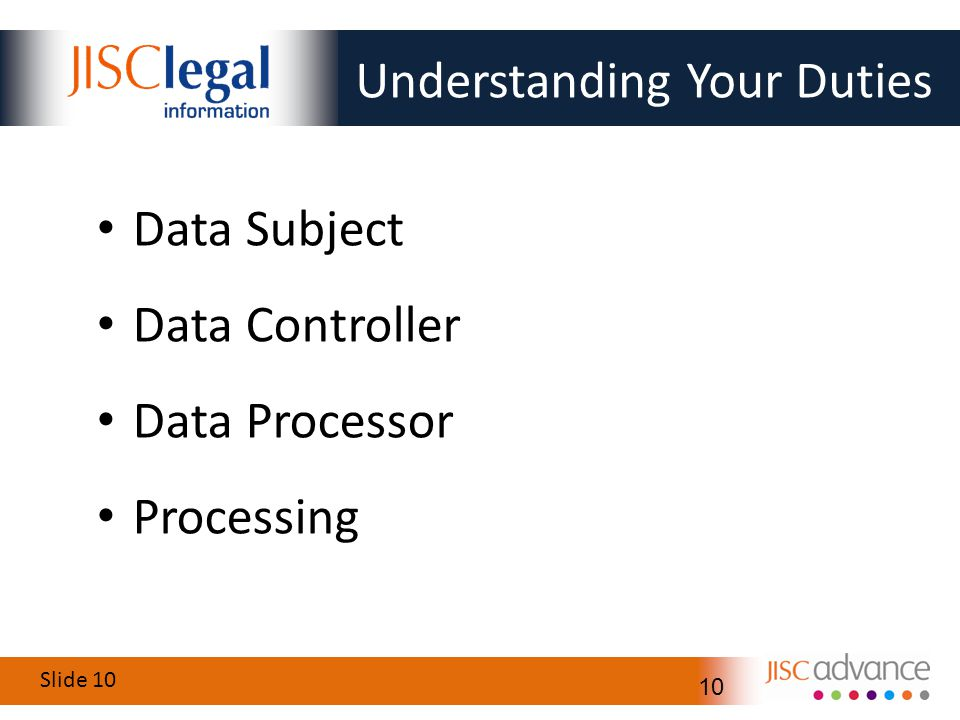 Slide 10 10 Understanding Your Duties Data Subject Data Controller Data Processor Processing