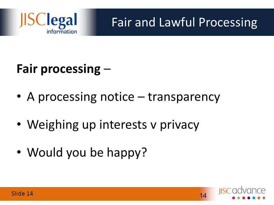 Slide 14 14 Fair and Lawful Processing Fair processing – A processing notice – transparency Weighing up interests v privacy Would you be happy?