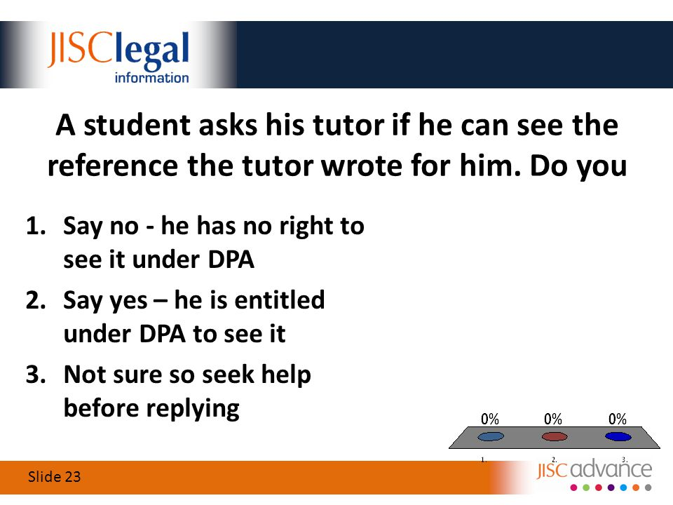 Slide 23 A student asks his tutor if he can see the reference the tutor wrote for him.