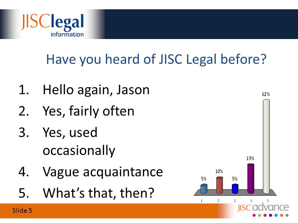 Slide 5 Have you heard of JISC Legal before.