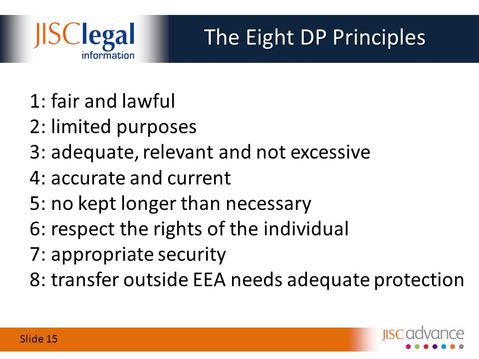 Slide 15 1: fair and lawful 2: limited purposes 3: adequate, relevant and not excessive 4: accurate and current 5: no kept longer than necessary 6: respect the rights of the individual 7: appropriate security 8: transfer outside EEA needs adequate protection The Eight DP Principles