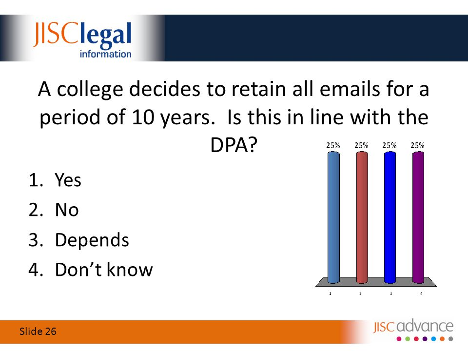 Slide 26 A college decides to retain all emails for a period of 10 years.