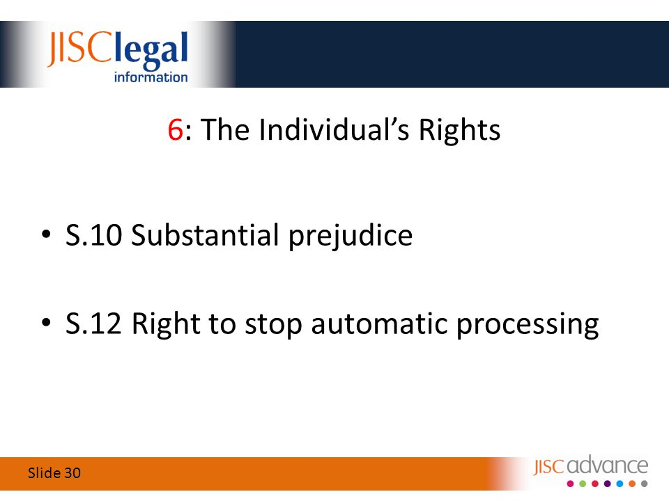 Slide 30 6: The Individual's Rights S.10 Substantial prejudice S.12 Right to stop automatic processing