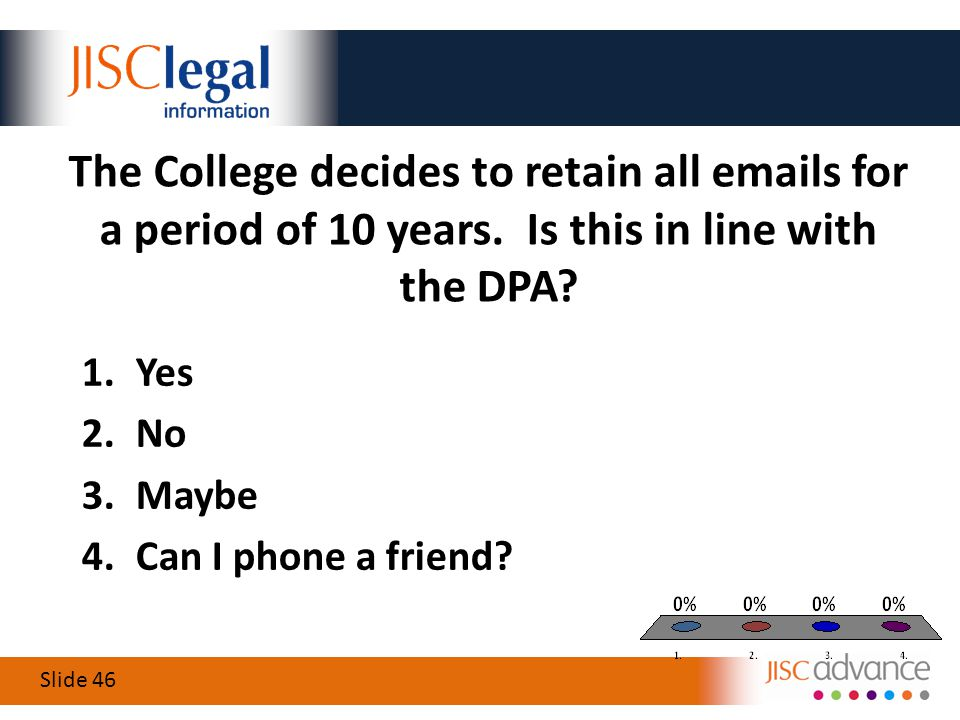 Slide 46 The College decides to retain all emails for a period of 10 years.