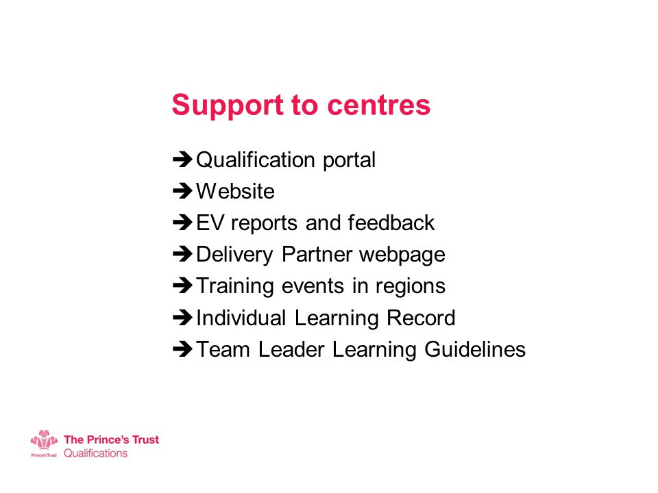 Support to centres  Qualification portal  Website  EV reports and feedback  Delivery Partner webpage  Training events in regions  Individual Learning Record  Team Leader Learning Guidelines