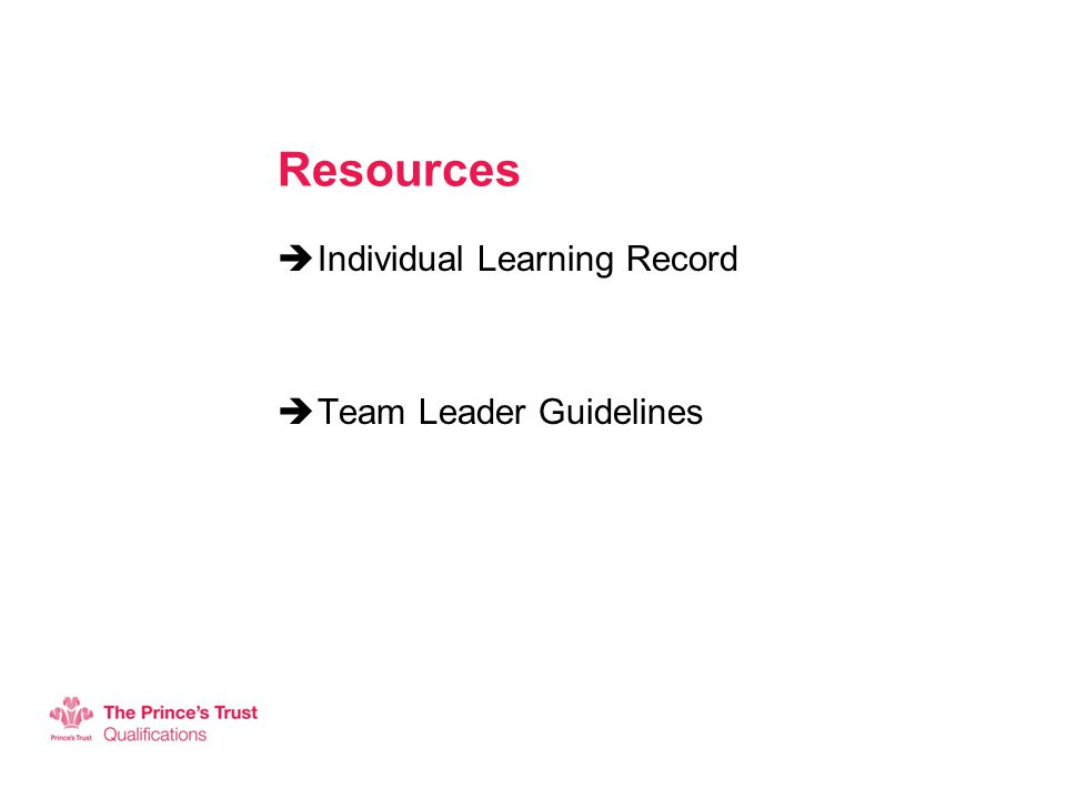 Resources  Individual Learning Record  Team Leader Guidelines