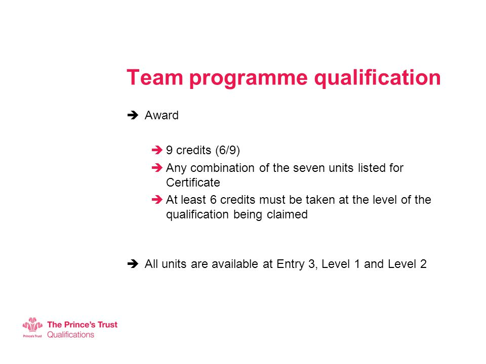 Team programme qualification  Award  9 credits (6/9)  Any combination of the seven units listed for Certificate  At least 6 credits must be taken at the level of the qualification being claimed  All units are available at Entry 3, Level 1 and Level 2